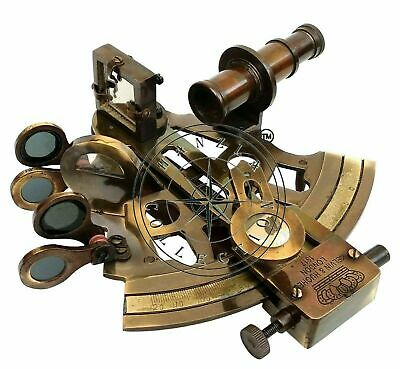 Antique Brass Working Marine Sextant Collectible Vintage Nautical Ship Astrolabe 4