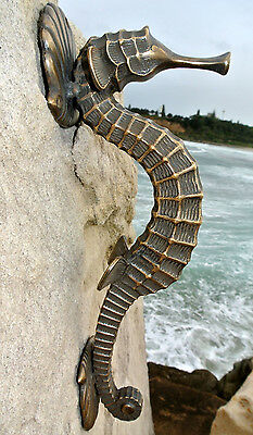 """large SEAHORSE solid brass door old style house PULL handle 13"""" heavy aged B 5"""