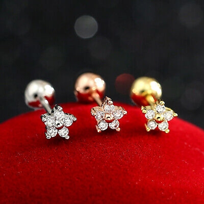 Mini Diamond Flower Ear Cartilage Helix Tragus Stud Ring Bar Piercing Earring 2