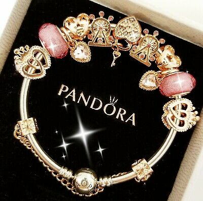 Authentic Pandora Bracelet Silver Bangle with Rose Gold Love European Charm 2
