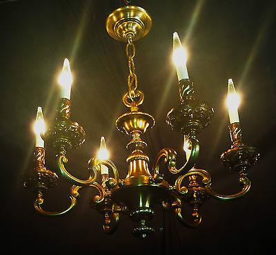 Vintage Deco Era Victorian Solid Cast French Brass chandelier light fixture. 2
