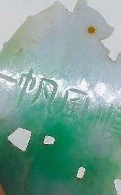 Ancien Chinois Sculpté Vert Blanc Jade Bateau Bateau Signé Pendentif 6