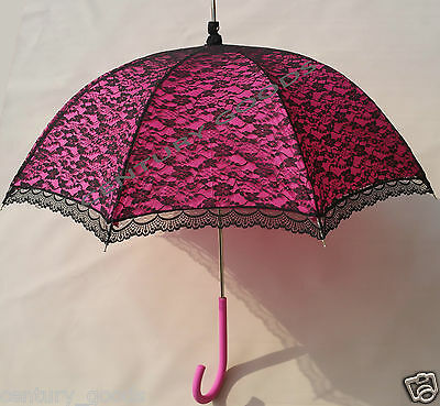 Retro Victorian Lace Bridal/Wedding Umbrella  Parasol In Fuchsia/Pink 3