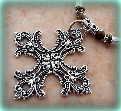Byzantine Medieval style CROSS Pendant Necklace - ANTIQUE ART NOUVEAU STYLE 3