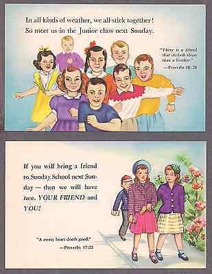 Group of 6 Sunday school NOS unused postcards 1940's 2