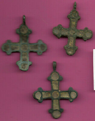 Lot of 3 Russia Enemaled Bronze Ortodox Cross 1050 11-12th Viking Byzantine 681 2