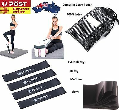 Set Of 4 YOGA Heavy Duty Resistance Band Loop Power GYM Workout Exercise Fitness 2