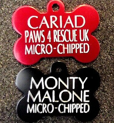 5 For £9.99 Med/Lge 40mm DOG BONE TAGS Pet Id Discs Deeply Engraved & Post Free