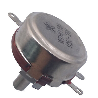 2x 10K ohm 2W 6mm Round Shaft Rotary Taper Carbon Potentiometer WTH118 With Dial