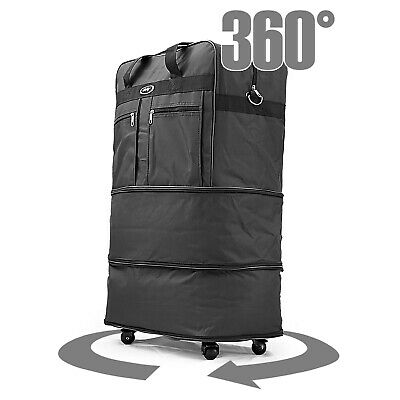"""30"""" Rolling Wheeled Duffel Bag Spinner Suitcase Luggage Expandable in Black 5"""