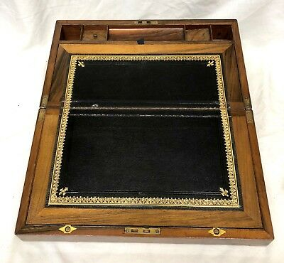 Antique Victorian Walnut & Brass Campaign Writing Box Slope SECRET DRAWERS 7