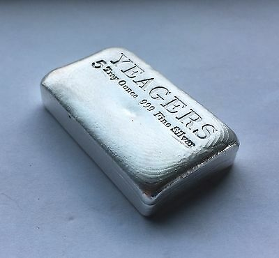 5 oz Hand Poured 999 Silver Bullion Bar by YPS (Bare Bones) 2