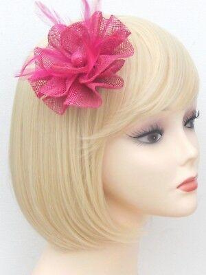 Fuchsia Pink Fascinator Brooch Clip Hair Feather Flower Wedding Ladies Day Races 8