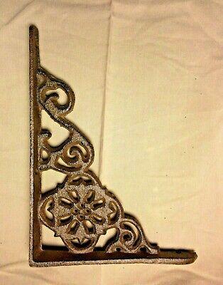 "SET of 2 ANTIQUE BRONZE VICTORIAN FLORAL STYLE cast iron brace bracket corbel 6"" 6"