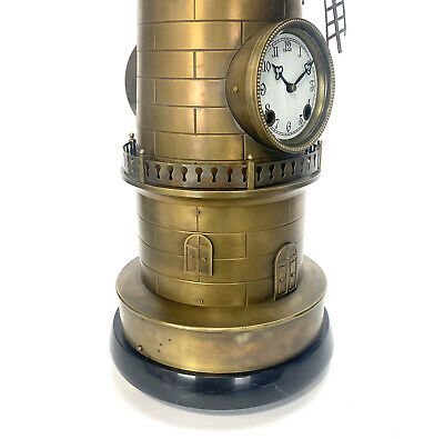 """32"""" Tall Large French Style 8 Day Brass Automaton Windmill Industrial Clock 8"""
