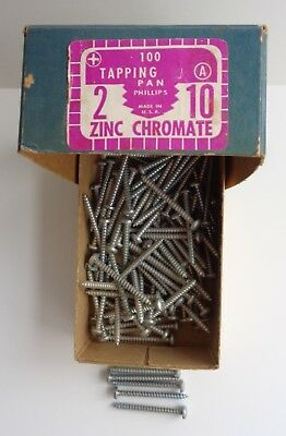 """Vintage 2"""" Pan Head Phillips ZINC Chromate Tapping Screws No. 10 A, over 100 8"""