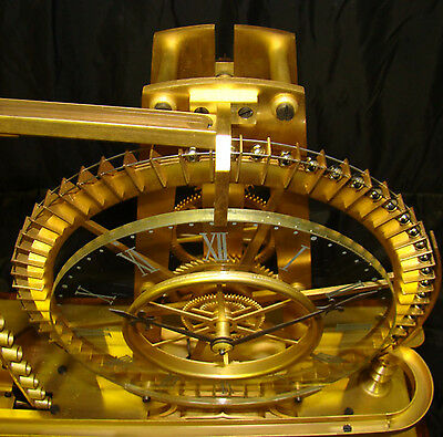 French Style Solid Rosewood Base 8 Day Waterwheel Industrial Ball Bearing Clock 4