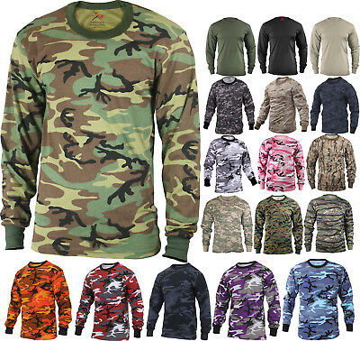 Camo Long Sleeve T-Shirt Tactical Military Crew Tee Undershirt Army Camouflage 3