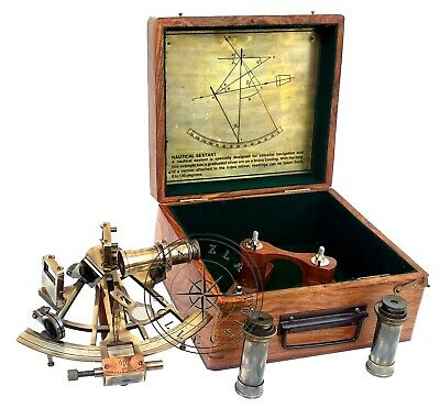 """8"""" Henry Barrow Nautical Sextant Antique Brass Ship Astrolabe With 2 Telescope 4"""