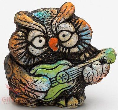 Clay Grog figurine of bird Owl souvenir handmade hand-painted