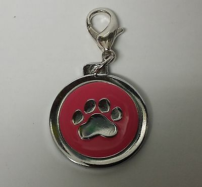 ENGRAVED PAW PRINT Pet Name Id Tag cat puppy dog collar 25mm nickel disc disk P 9