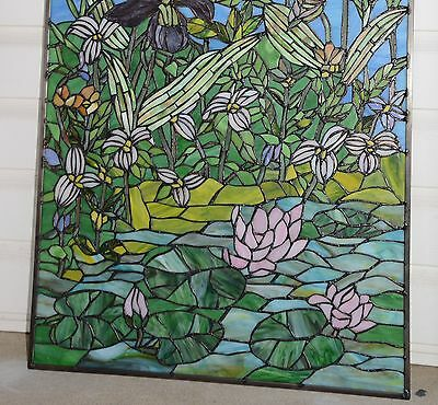 "24"" x 36"" Lily Pond Lotus Tiffany Style stained glass window panel 9"
