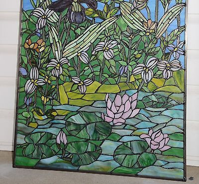 "24"" x 36"" Lotus Lily Pond Flower Tiffany Style stained glass window panel 9"