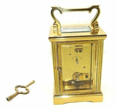 MAPPIN & WEBB Brass Carriage Mantel Clock Timepiece with Key  Working Order (54) 8