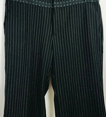 NWOT Old Navy Black Gray Pinstripe Wide/Straight Leg Career Stretch Pants Sz 12 2