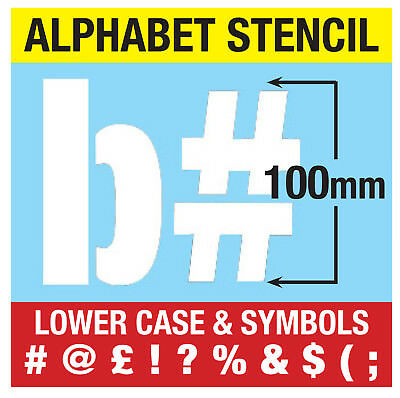"""VERY LARGE STENCIL LETTERS SYMBOLS 100mm tall (4"""") 9 x Sheets Modern LOWER CASE"""