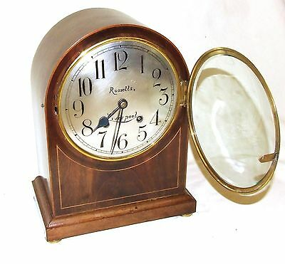 W & H Winterhald Antique Inlaid Mahogany Bracket Mantel Clock RUSSELLS LIVERPOOL 4