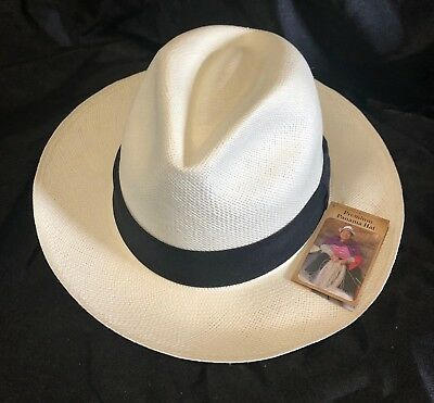 "Genuine Panama Hat Montecristi Flat cap /""Ivy/"" red Men Woman Straw Ecuador"