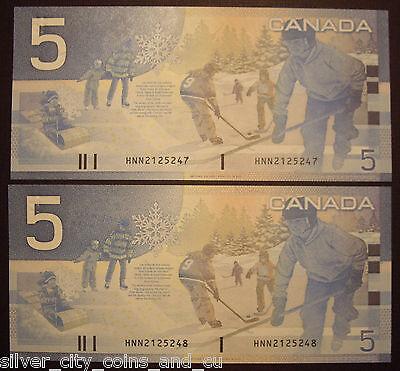 2 Consecutive 2003 BC-62a-i $5 Changeover Notes HNN2125247-48 - GemUnc 2