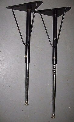 "Set Of 4 1950s 60s COMMERCIAL CHROMED STEEL ~24""-28"" TABLE LEGS w/ Hairpin Brace 2"