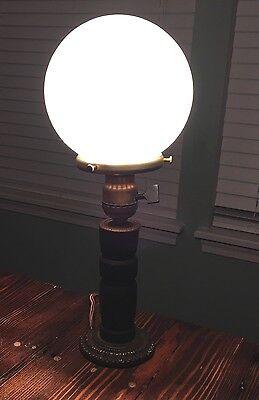 Wired Plugin Antique Wooden Table Lamp W/ Round Milk White Globe 2