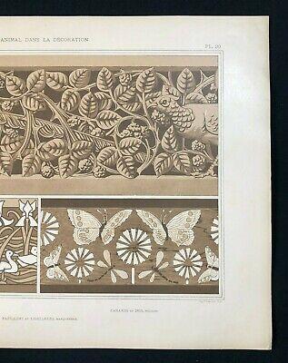 Antique 1897 French Art Nouveau Print, L'Animal Dans La Decoration, Plate 20 (2) 4