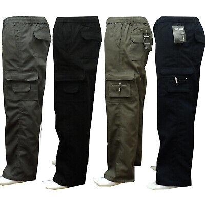 Mens New Elasticated Cargo Combat Work Cotton lightweight Trousers Pants Bottoms 3