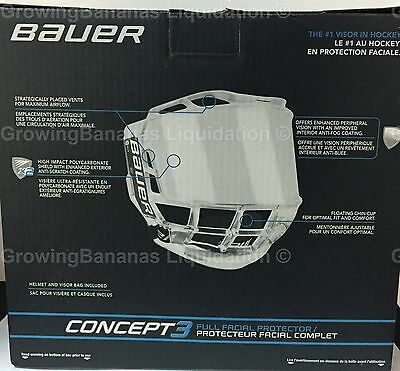 458f619b433 BAUER CONCEPT 3 Full Shield Visor! SR Hockey Helmet Visor   Bag ...
