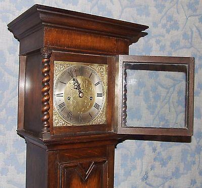 Antique Oak Grandmother / Miniature Grandfather Clock : Weight Driven Movement 5