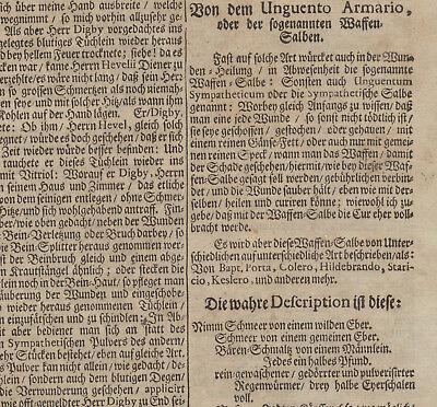 WAFFENSALBE Arzt + Apotheker MEDIZIN Orig Doppelblatt 1690 Heilkunde Rezept 6