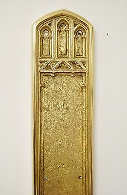 Solid Brass Architectural Door Hardware #194, Push Plate Victorian Gothic