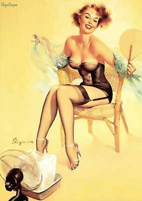 Gil Elvgren Pin-up Girls  Near Miss, Bare Facts, Jeepers Peepers poster A5 A4 A3 12
