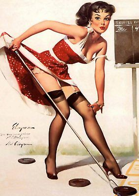 Gil Elvgren Pin-up Girls  Near Miss, Bare Facts, Jeepers Peepers poster A5 A4 A3 8