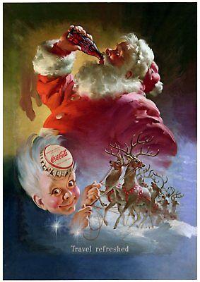 A3 Christmas Santa Poster Vintage Wall Art Decoration Father Xmas Kids Gift