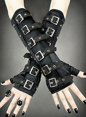 GOTHIC ARMWARMERS Adjustables Straps and Silver Buckles / Goth / Rock / Punk / 2