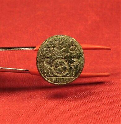 "Nice Medieval Seal Matrix Stamp With ""P F"" Monogram. 16. Century Seal 2"