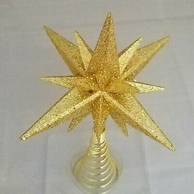 "Moravian Star Tree Topper Small Gold Christmas Acrylic 6"" Kurt Adler 3"