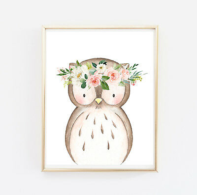 Pink Gold Woodland Animals Personalised Monogram Floral Nursery Art Set 6 614-A