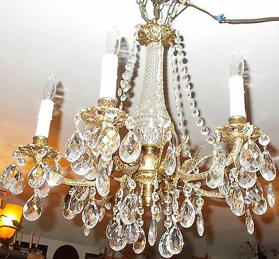 Spectacular Antique  Brass 6 Embossed Arm Chandelier 2