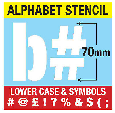 "LARGE STENCIL LETTERS SYMBOLS 70mm tall (2.75"") 6x Sheets Modern LOWER CASE"